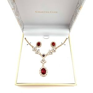 Gold Garnet Red Y-Necklace & Crystal Earrings NEW